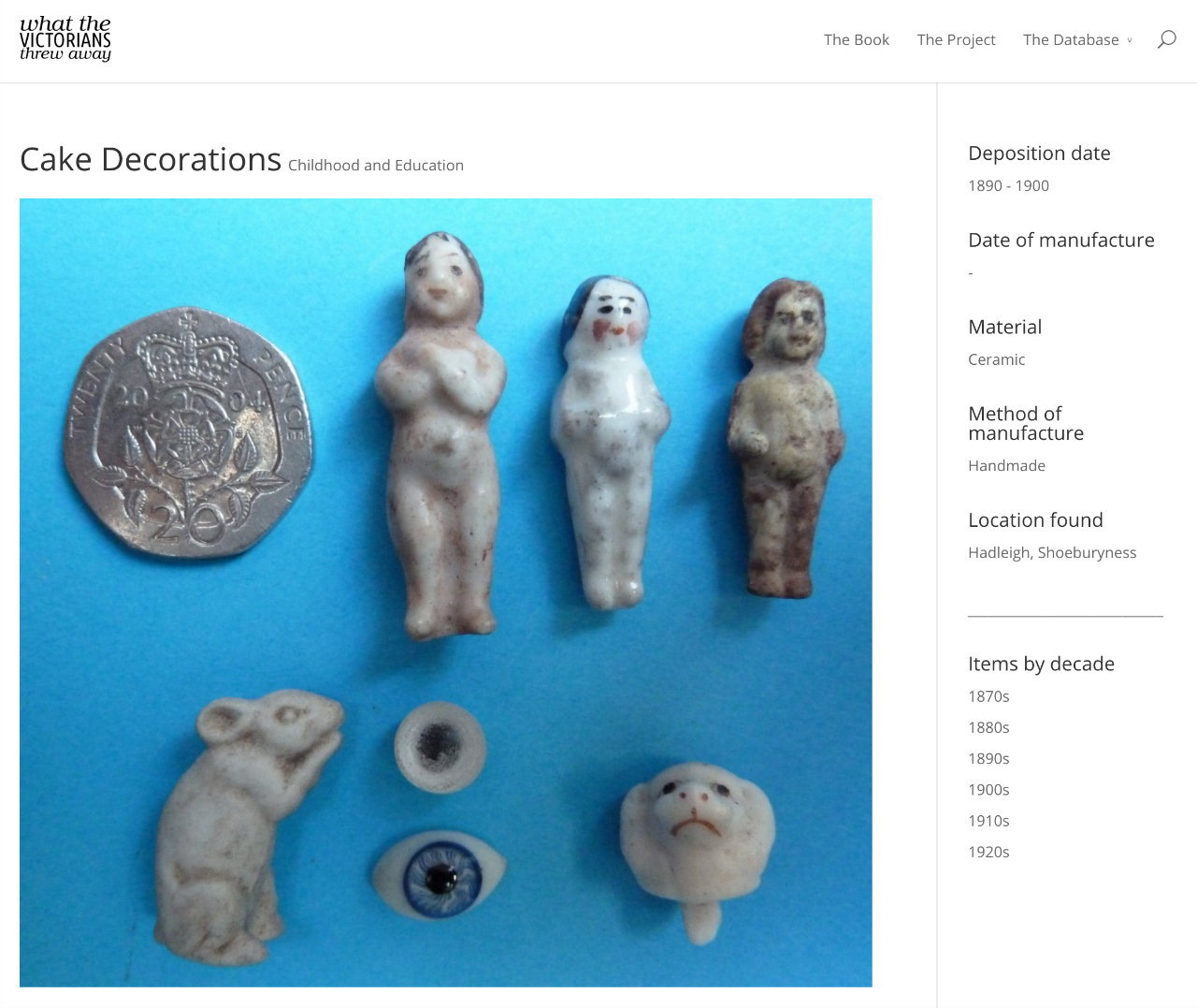 """Victorian cake decoration thrown away between 1890 and 1900, including """"Frozen Charlottes."""" (The site notes that the """"two dolls' eyes obviously were not decorations."""") (screenshot by the author for Hyperallergic)"""
