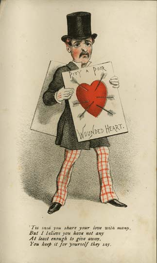 """Pity a Poor Wounded Heart"" vinegar valentine, for one who shares their ""love with many"" (1870s) (via Brighton Royal Pavilion and Museums/Wikimedia)"