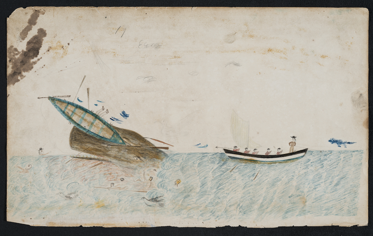 Illustration from a 19th-century whaling logbook (courtesy Martha's Vineyard Museum)