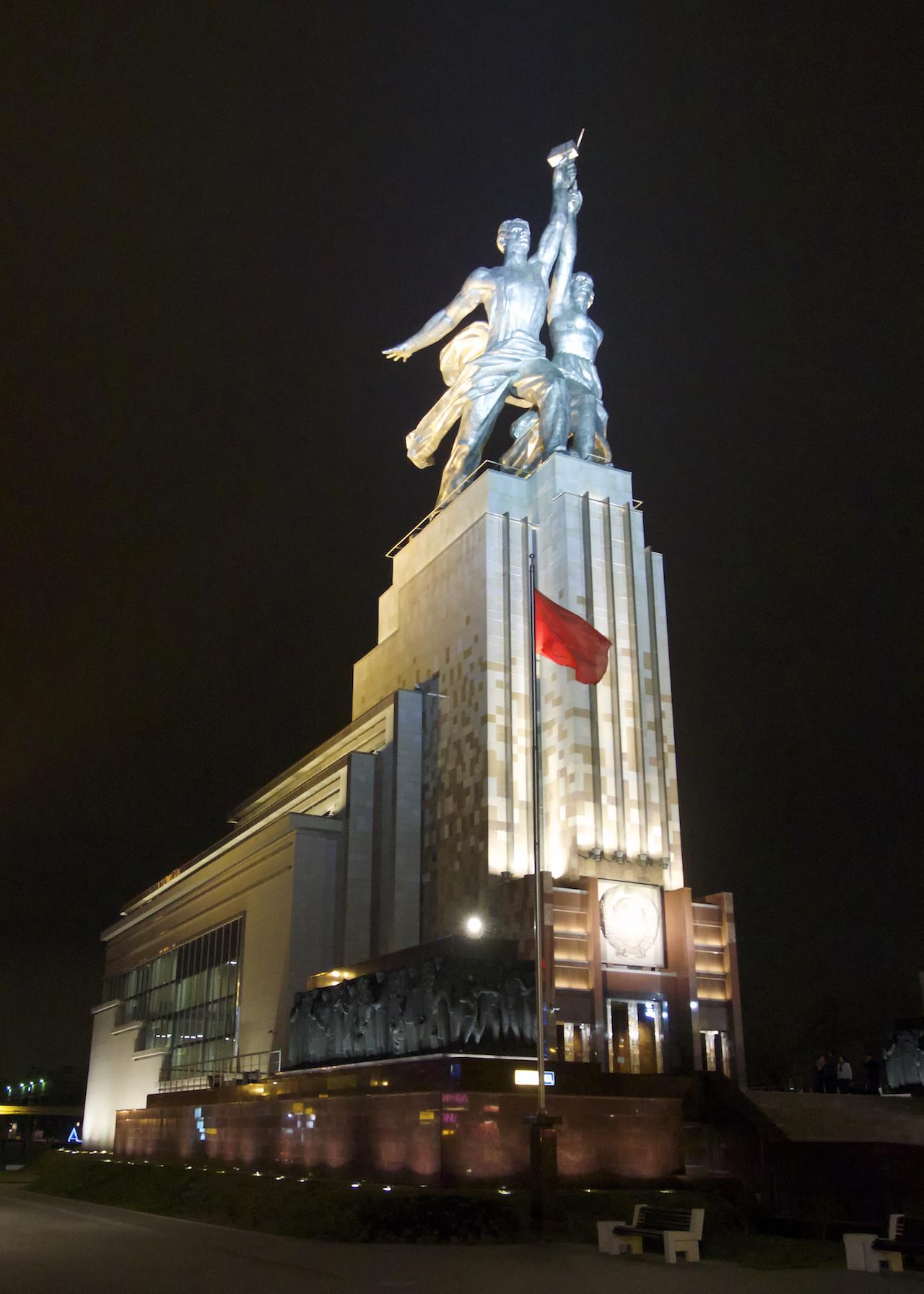 "Vera Mukhina's ""Worker and Kolkhoz Woman"" atop the Worker and Kolkhoz Woman Museum in Moscow (photo by Clay Gilliland, via Wikimedia Commons)"