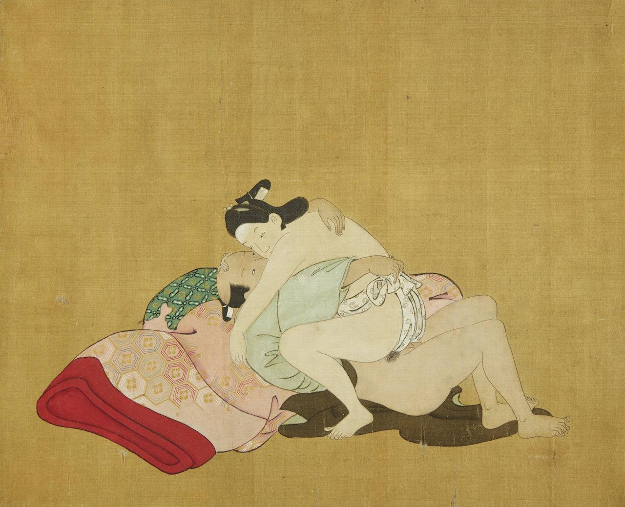 1 Miyagawa Choshun (1683-1753) - A Rare and Important Nanshoku (Male-Male) Shunga Handscroll