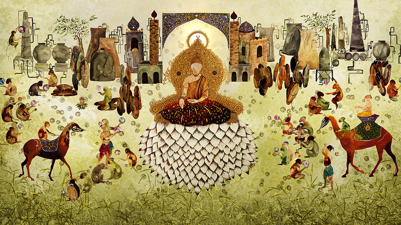 "Shiva Ahmadi, ""Lotus"" (2014), single channel animation, 8:44 min, Asia Society, New York, Gift of Anne and Joel Ehrekranz, 2015.1"