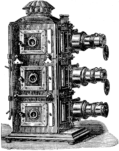"1888 woodcut illustration of a ""Docwra"" triple lantern (© 2011 Richard Crangle) (click to enlarge)"