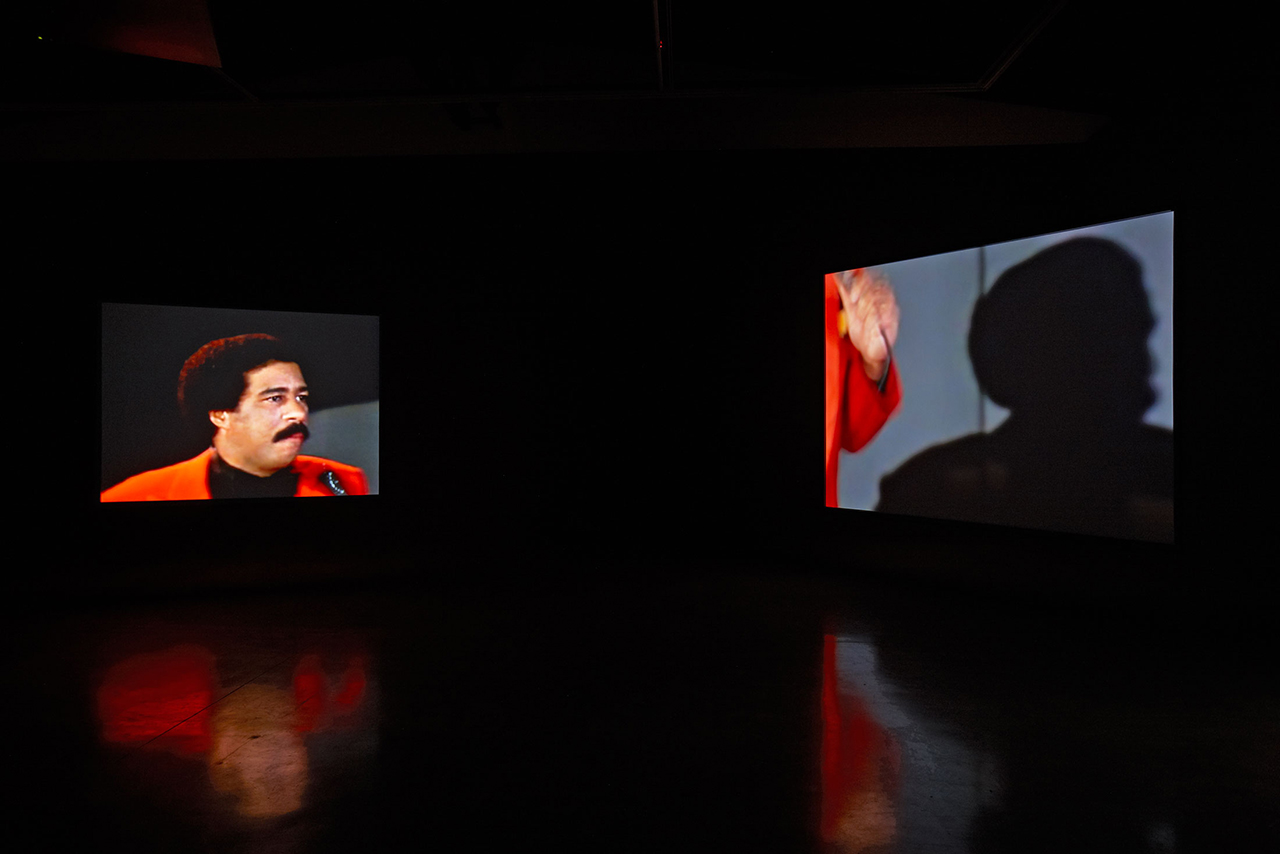 """Glenn Ligon, """"Live"""" (2014), seven-channel video, 80 min, installation view in 'Glenn Ligon: We Need To Wake Up Cause That's What Time It Is,' Luhring Augustine Bushwick, Brooklyn, NY (January 16–April 17, 2016) (photo by Farzad Owrang; © Glenn Ligon; courtesy the artist, Luhring Augustine, New York, Regen Projects, Los Angeles, and Thomas Dane Gallery, London) (click to enlarge)"""