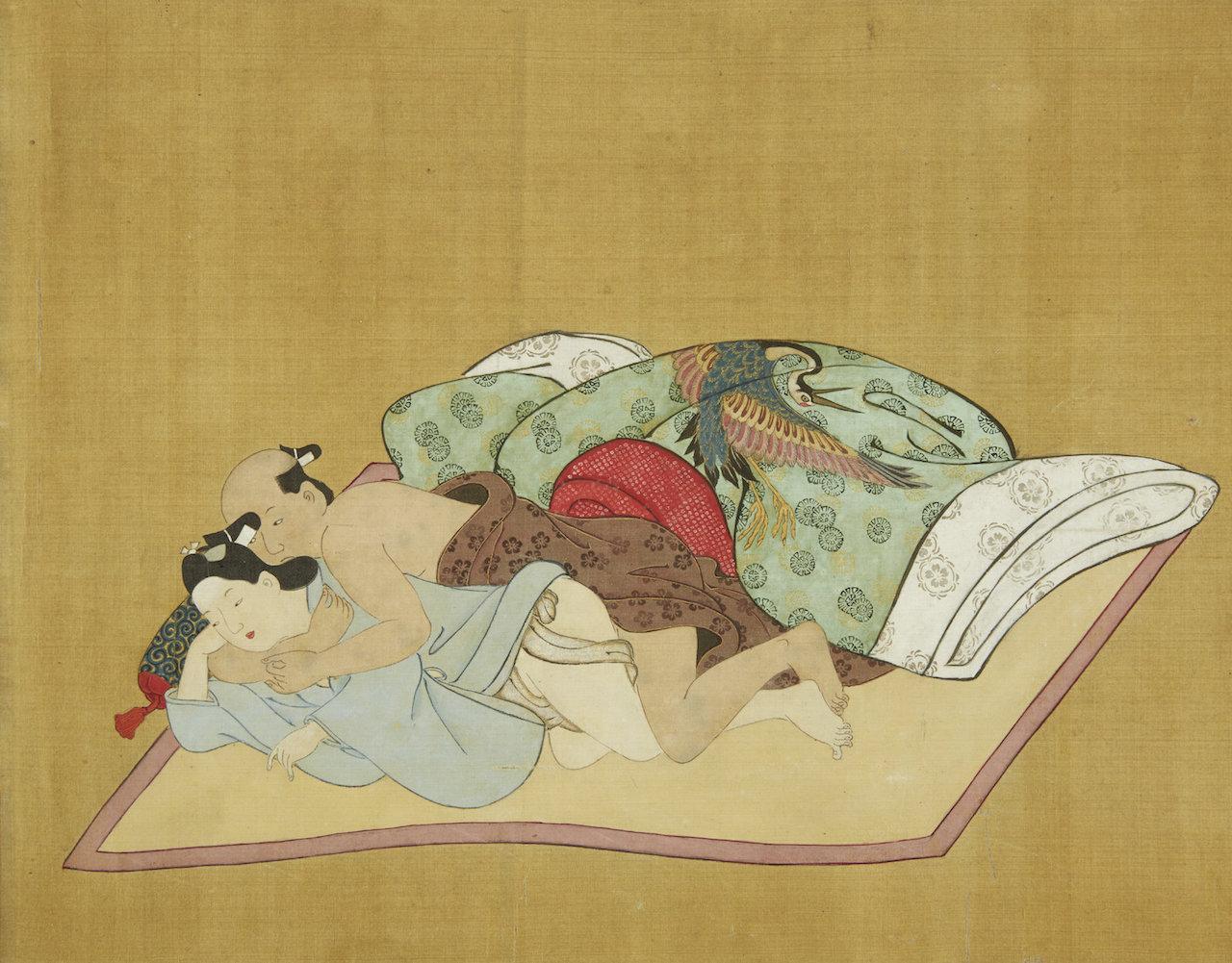 3 Miyagawa Choshun (1683-1753) - A Rare and Important Nanshoku (Male-Male) Shunga Handscroll
