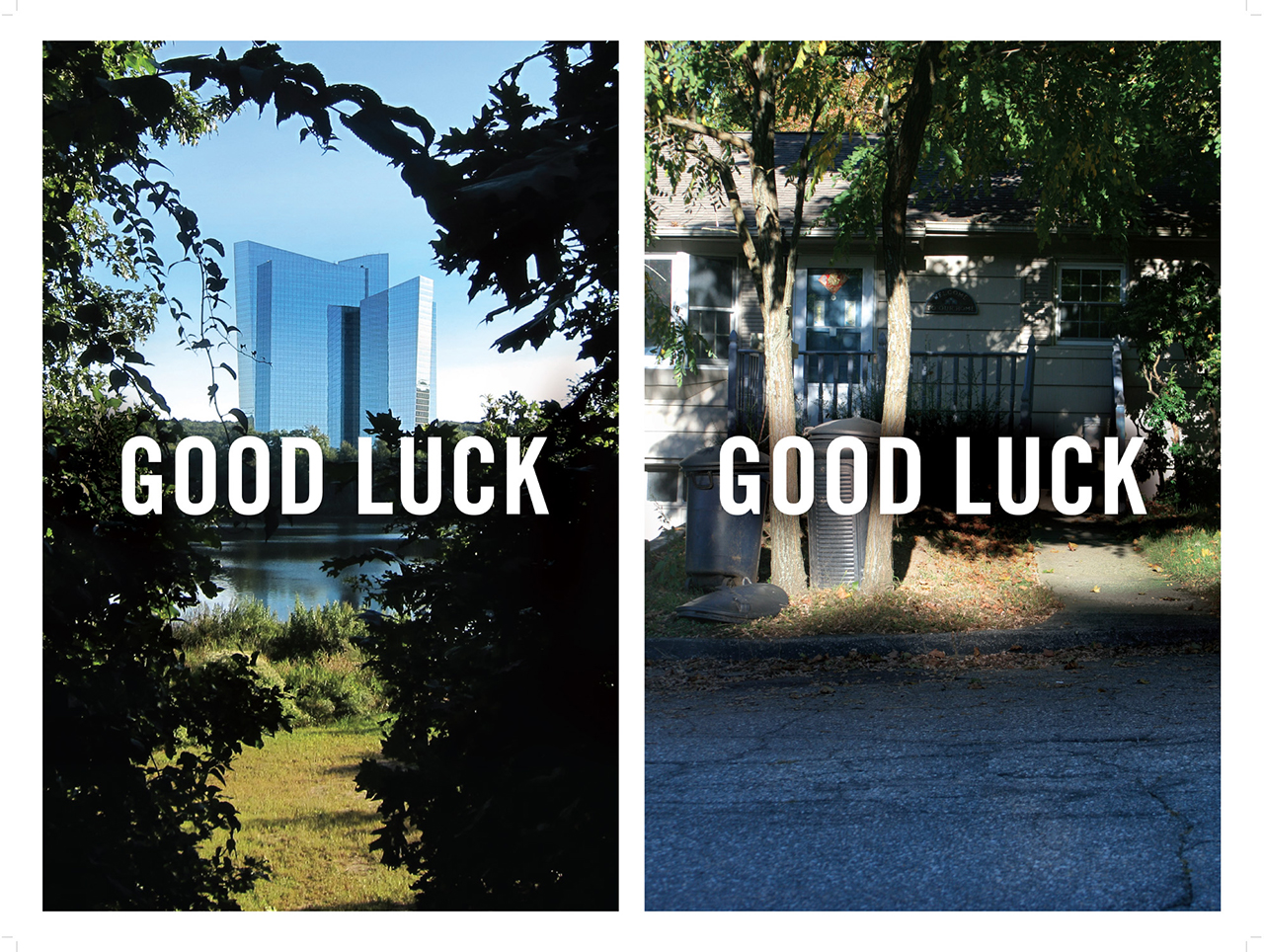 "The same faith in luck that's inscribed in the casino workers' houses through geomantic plantings entices many of the Asian patrons they serve at the casinos. Stephen Fan and Shane Keaney, ""Good Luck/Good Luck"" (2013), pigmented inkjet prints, 24""x18"" (image courtesy Stephen Fan and Shane Keaney)"