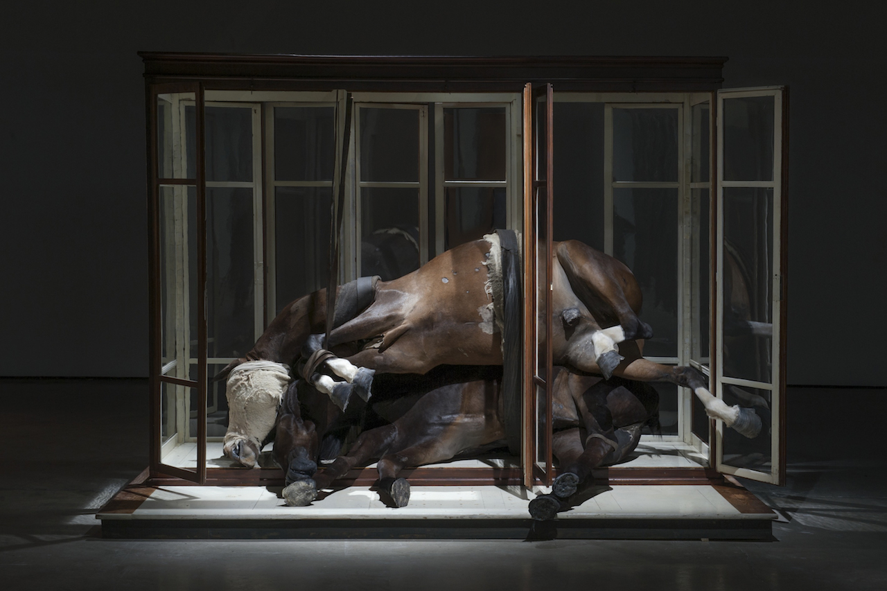 """Berlinde De Bruyckere, """"No Life Lost II"""" (2015), horse skin, wood, glass, fabric, leather, blankets, iron, and polyester (photo by Mirjam Devriendt)"""