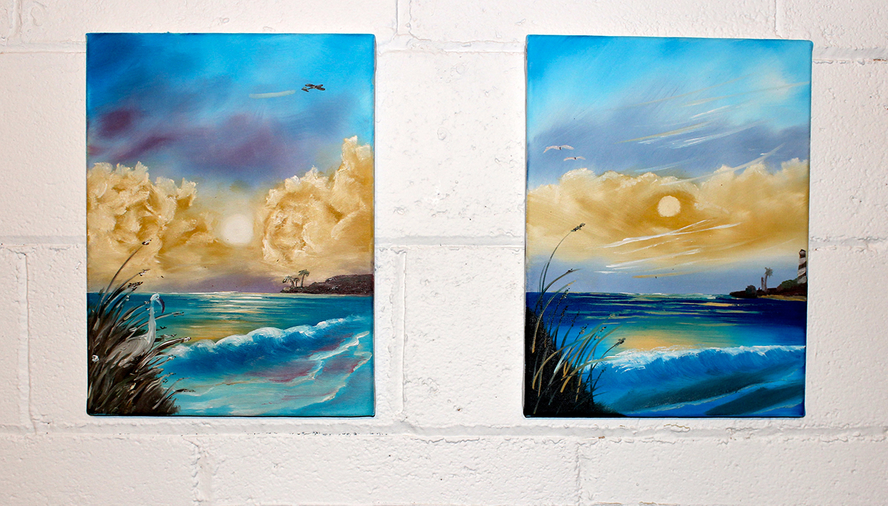 Henry Crissman and Hamilton Poe's paired seascape paintings, on display at Trinosophes (all photos by the author for Hyperallergic)