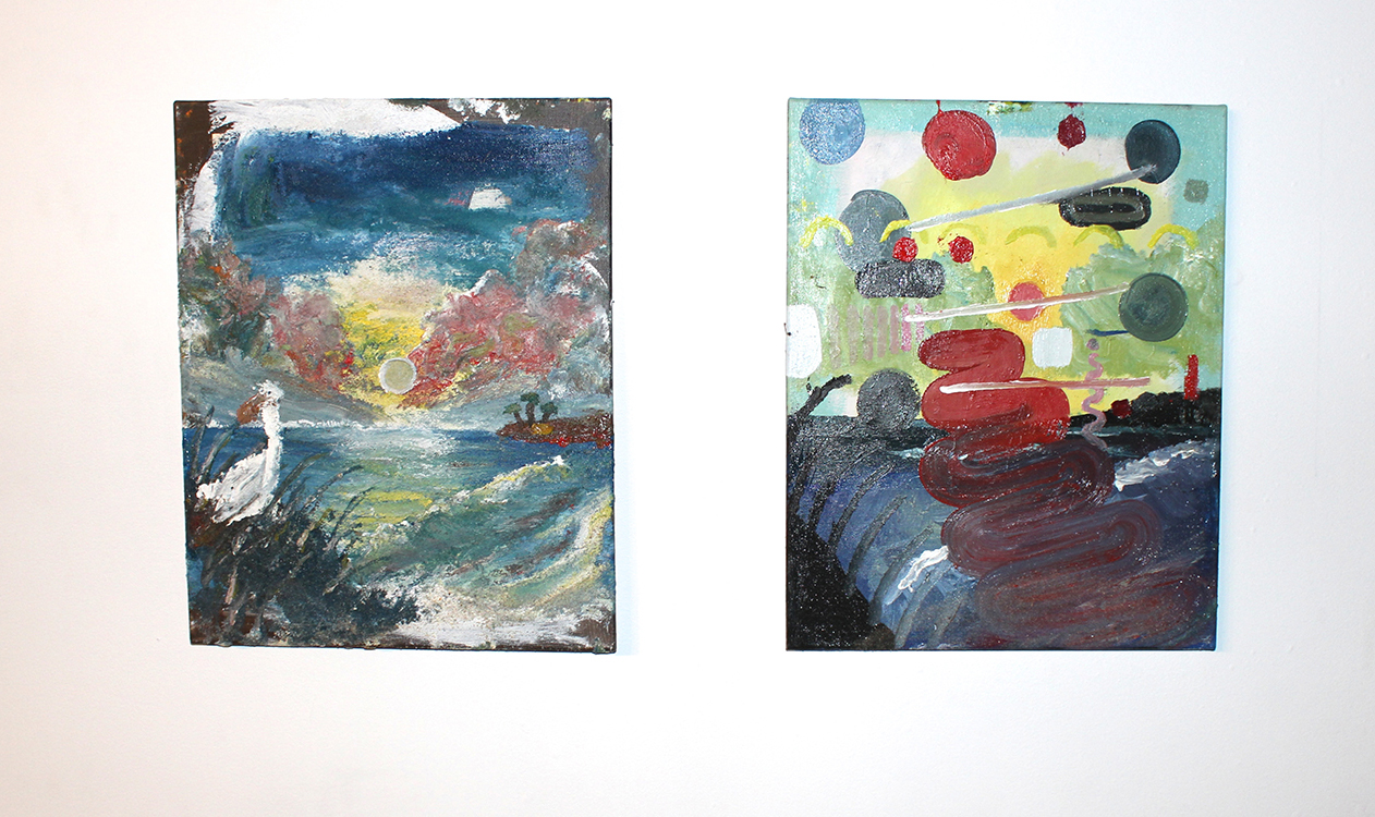 Henry Crissman and Hamilton Poe's paired seascape paintings, on display at Trinosophes