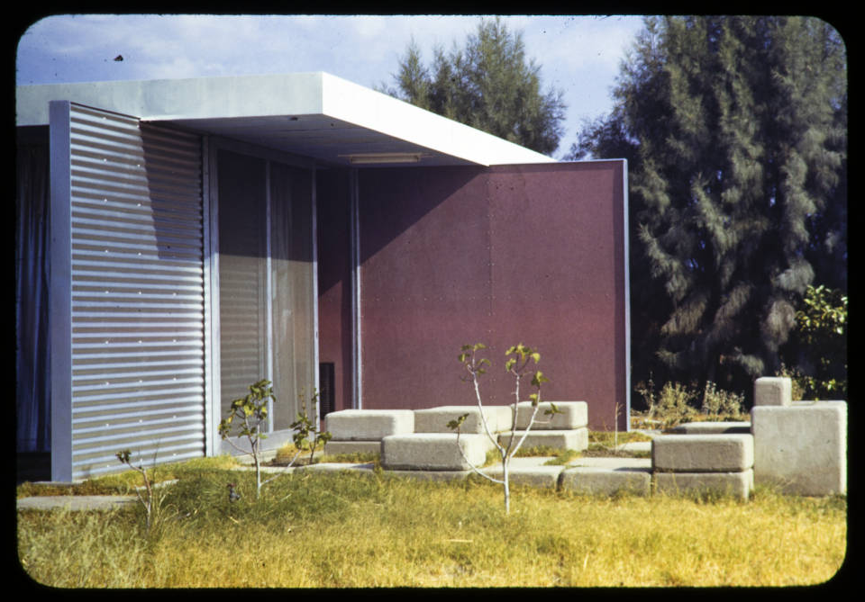 Frey residence, Palm Springs, Calif., 1941 DescriptionExterior photograph of the east side with kitchen garden, residence of Albert Frey (Frey residence 1), 1150 Paseo El Mirador, Palm Springs, California, 1941.