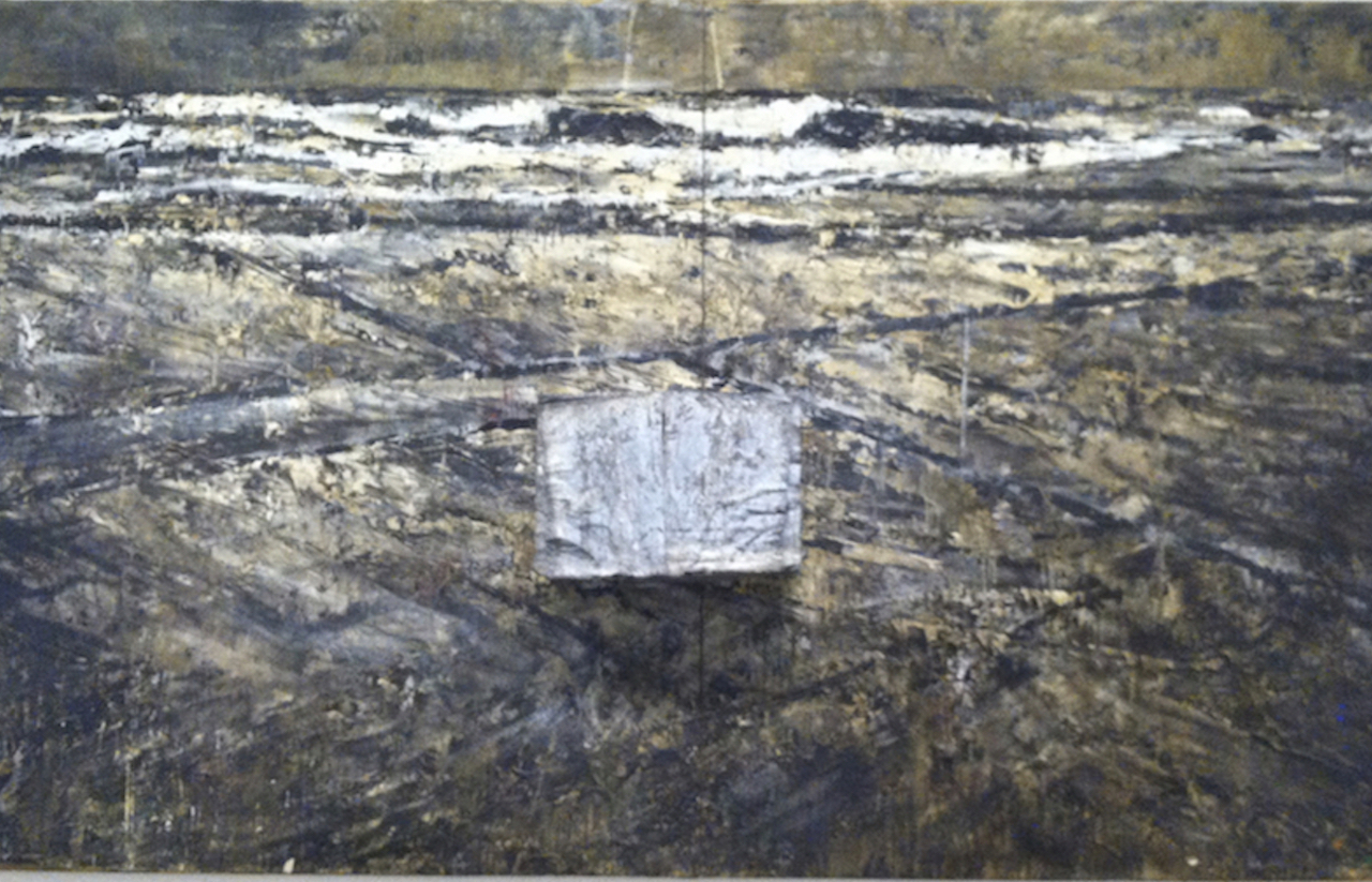 """Anselm Kiefer, """"The Book"""" (1979–1985), oil, lead, photographic paper, straw, and fabric on canvas, 330.2 x 552.7 cm, at the Hirshhorn Museum, Smithsonian Institution, Washington DC (all photos by the author for Hyperallergic unless otherwise noted)"""