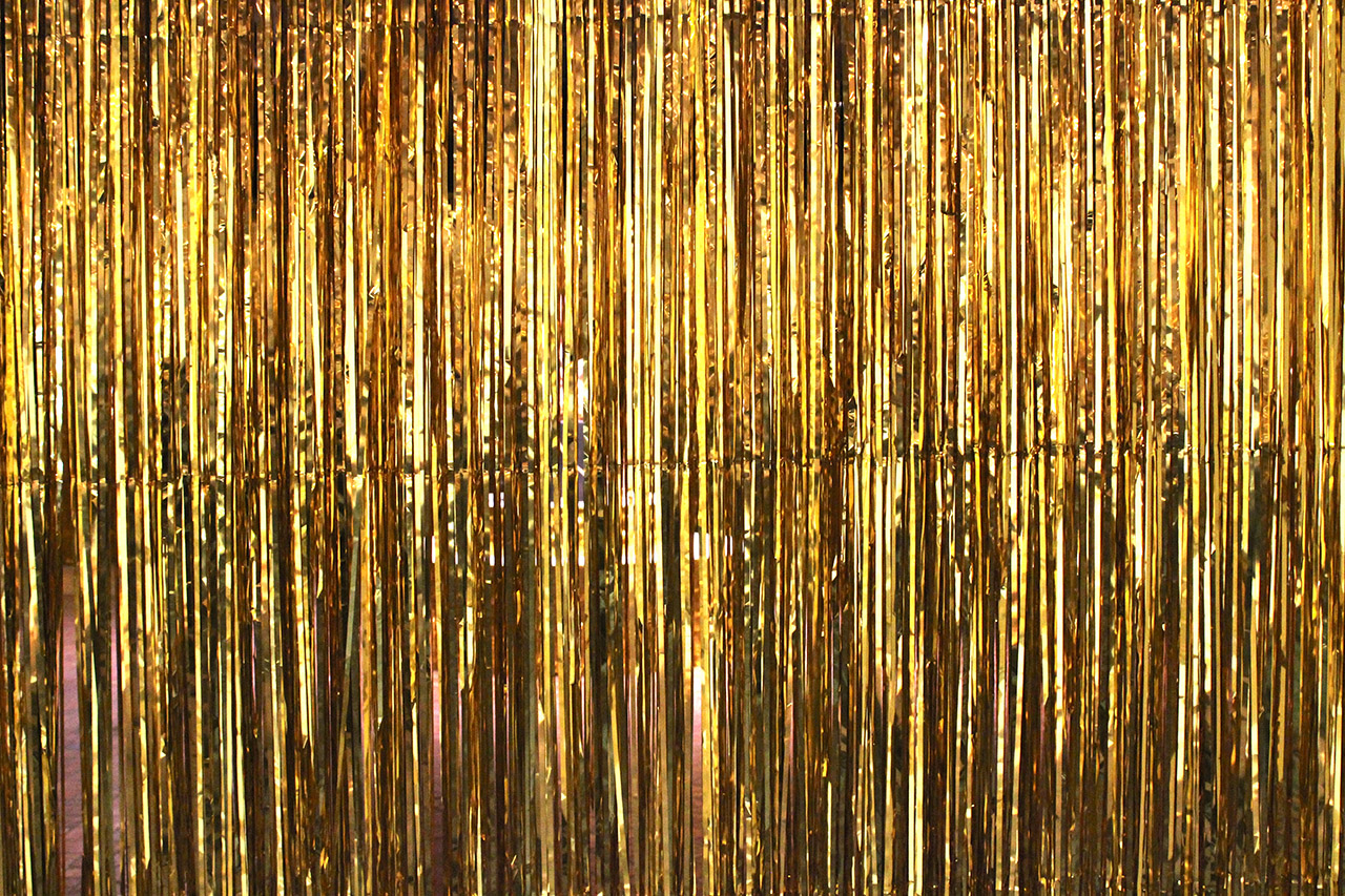 "The gold streamers for Ragnar Kjartansson's ""Woman in E"""