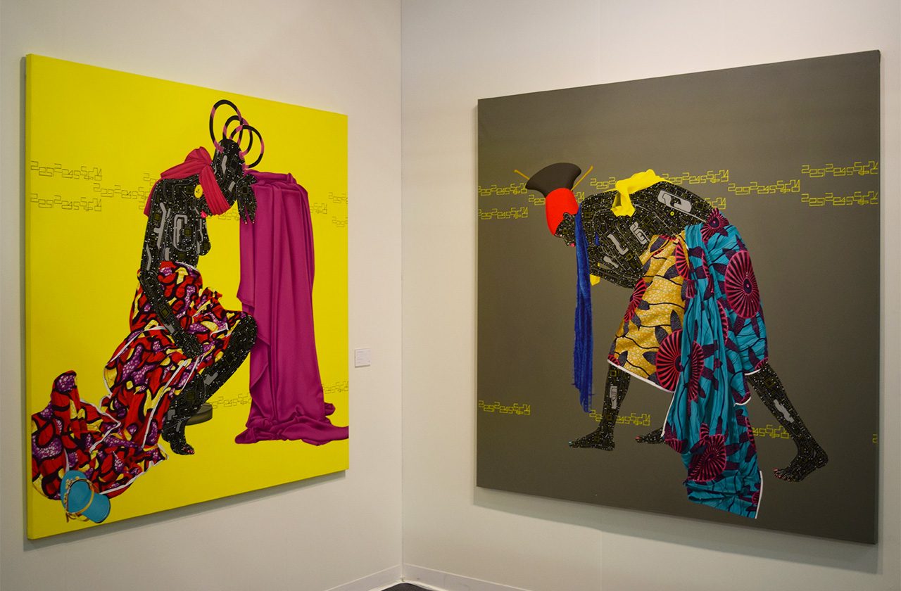 """Eddy Kamuanga Ilunga's """"Lost"""" (2015, left) and """"No Identity, No Evolution"""" (2015, right) in the October Gallery booth at the 2016 Armory Show"""