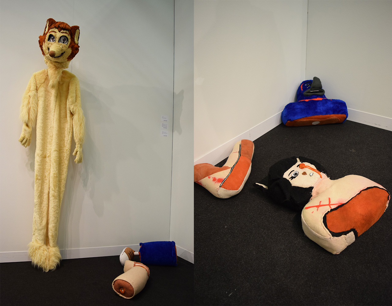 """Ed Fornieles's """"Furry"""" (2016, far left) and """"Virtual Insanity, Cosmic Girl, Ballad of Big Nothing, A Fond Farewell, It's My Life"""" (2015) in the Carlos/Ishikawa booth at the 2016 Armory Show"""