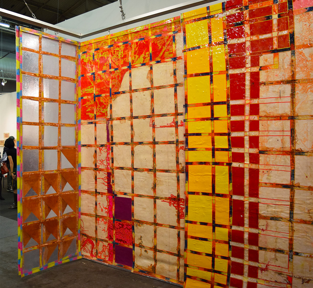 """Looking out of Delson Uchôa's installation """"Pintura habitada"""" (""""Inhabited Painting"""") at the 2016 Armory Show"""