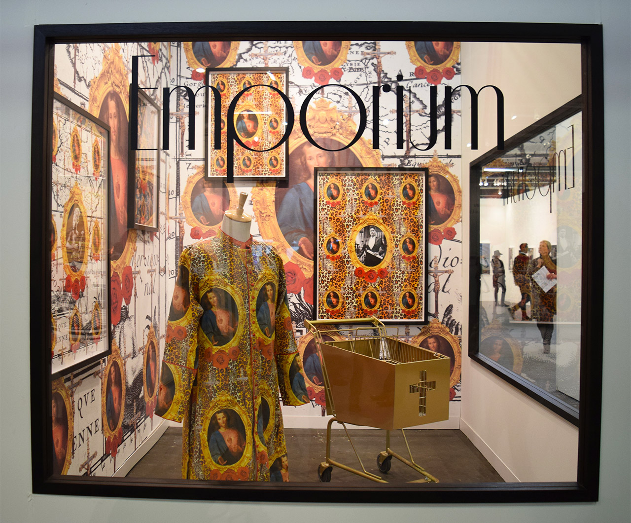 """Looking in on Kudzanai Chiurai's installation """"Emporium"""" (2016) in the Goodman Gallery booth at the 2016 Armory Show"""