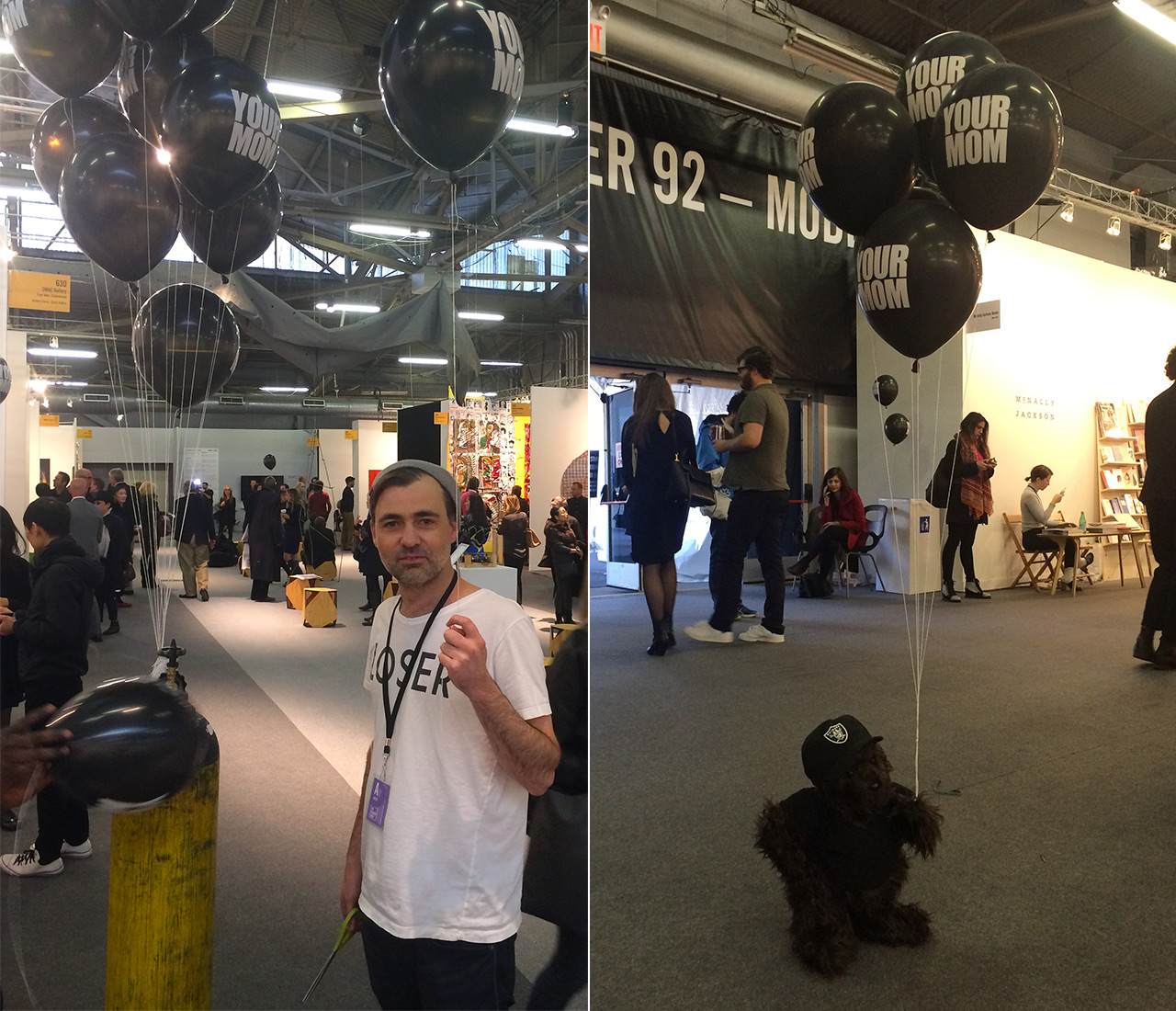 """Left: artist Ed Young handing out """"YOUR MOM"""" balloons in the 2016 Armory Show's Focus section; right: a teddy bear in an Oakland Raiders hat holding several of Ed Young's """"YOUR MOM"""" balloons at one of the 2016 Armory Show's main intersections"""