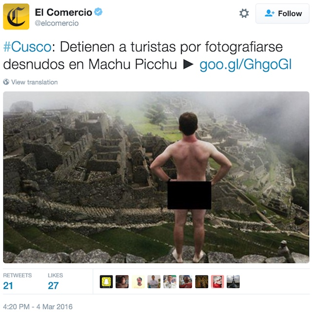 One of the naked photos that recently got two tourists arrested at Machu Picchu (screenshot by the author via @elcomercio/Twitter)