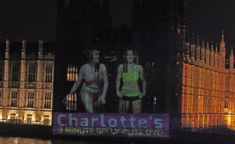 An advertisement for a fitness DVD, projected last January