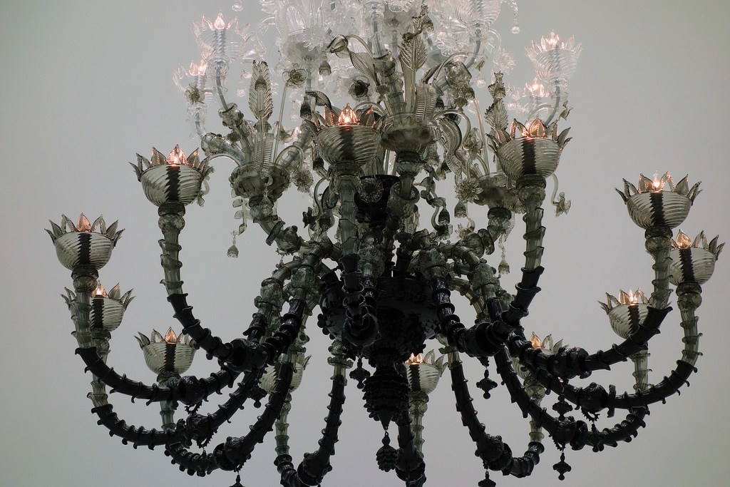"Fred Wilson, ""To Die Upon a Kiss"" (2011), blown, hot-worked glass, assembled, with electrical fittings, made in Murano, Italy"