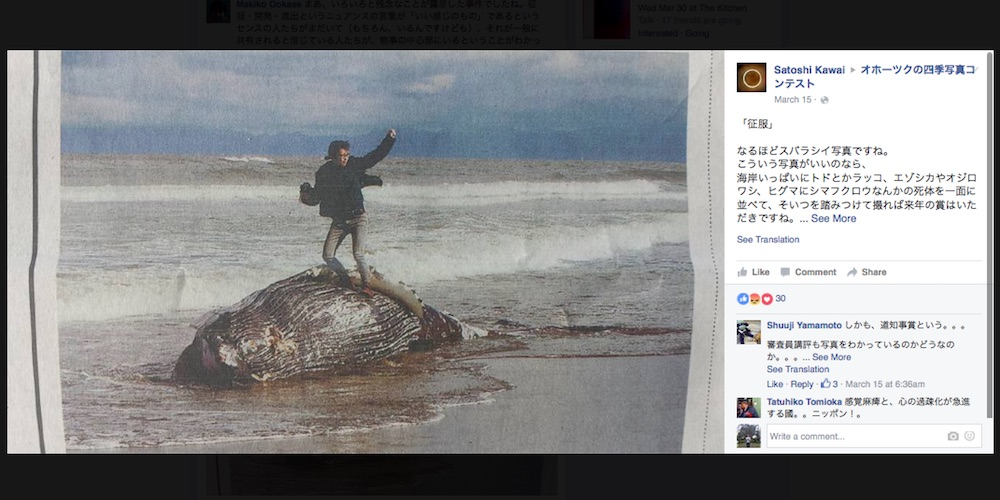 The winning photo of the Okhotsk Sea Ice Museum's photography competition (screenshot by the author via Facebook)