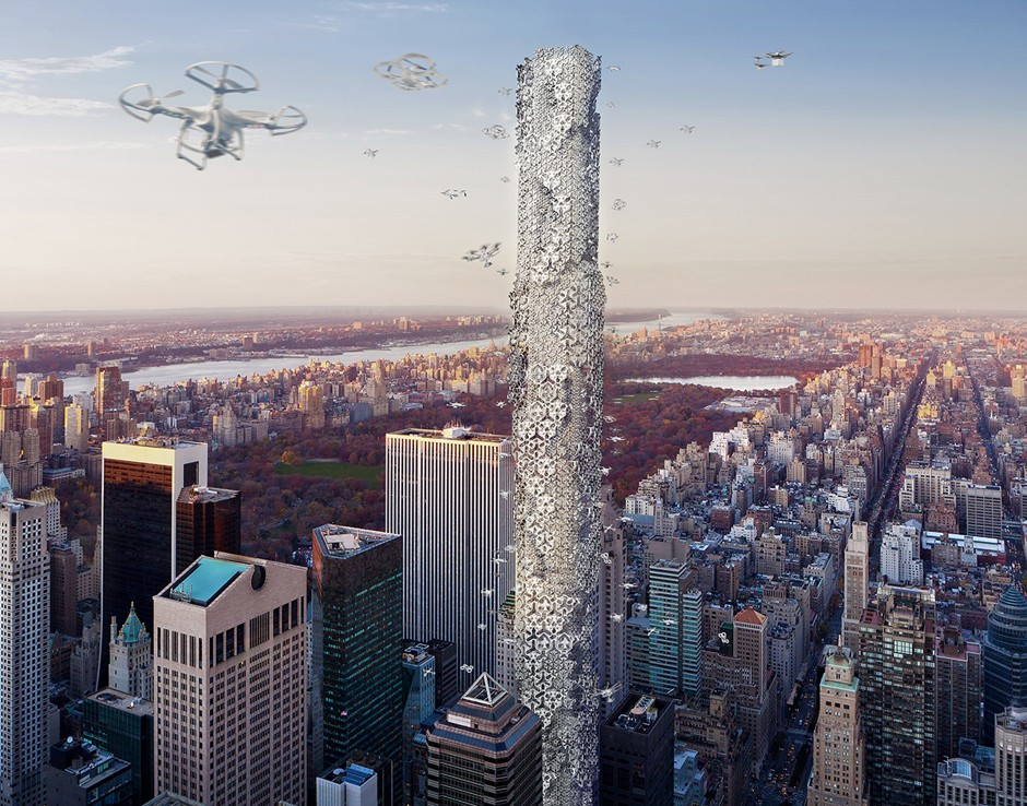 """Hadeel Ayed Mohammad, Yifeng Zhao, and Chengda Zhu, """"The Hive: Drone Skyscraper,"""" second place winner in the 2016 eVolo Skyscraper Competition."""