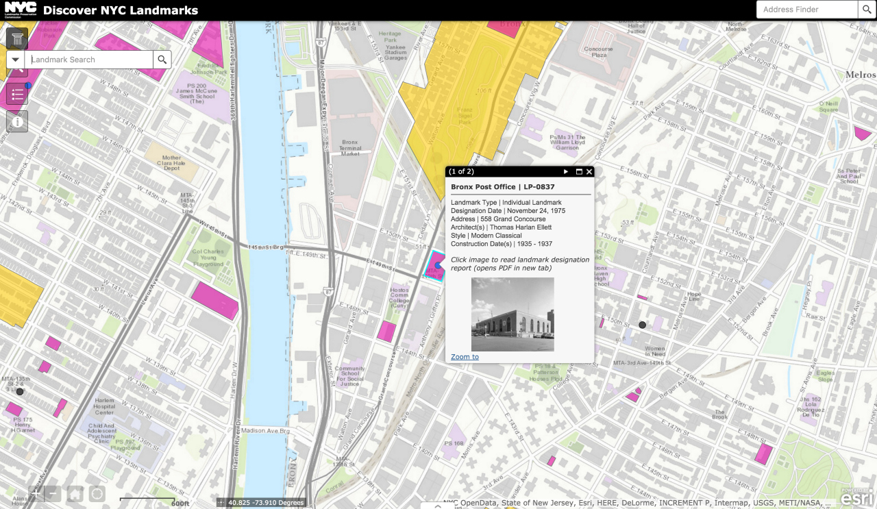 Bronx Post Office on Discover NYC Landmarks (screenshot by the author for Hyperallergic)