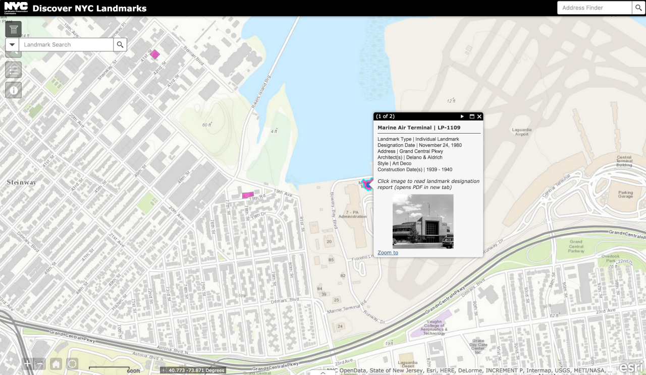 Marine Terminal on Discovery NYC Landmarks (screenshot by the author for Hyperallergic)