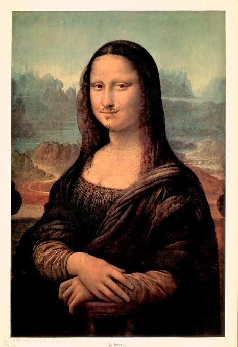 "Marcel Duchamp, ""L.H.O.O.Q. or La Joconde"" (1964 [replica of 1919 origina]), Colored reproduction, heightened with pencil and white gouache, 11 3/4 x 7 7/8 in. (© Succession Marcel Duchamp / ADAGP, Paris / Artists Rights Society (ARS), New York 2016, via nortonsimon.org)"
