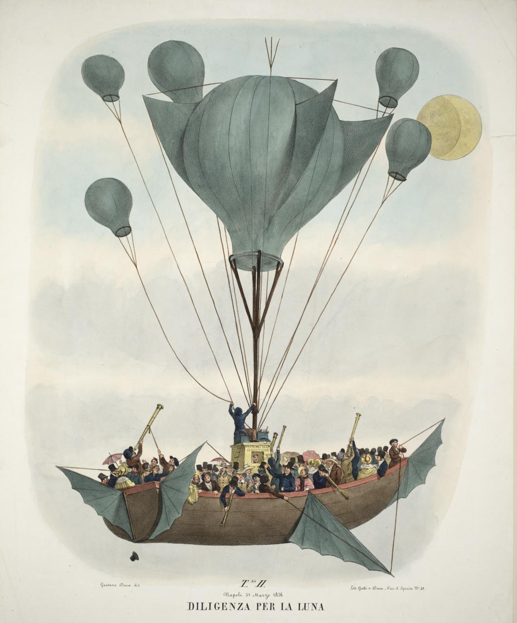 Illustration from Leopoldo Galluzzo's 'Altre scoverte fatte nella luna dal Sigr. Herschel [Other lunar discoveries from Signor Herschel]' (Naples, 1836) (courtesy Smithsonian Libraries)