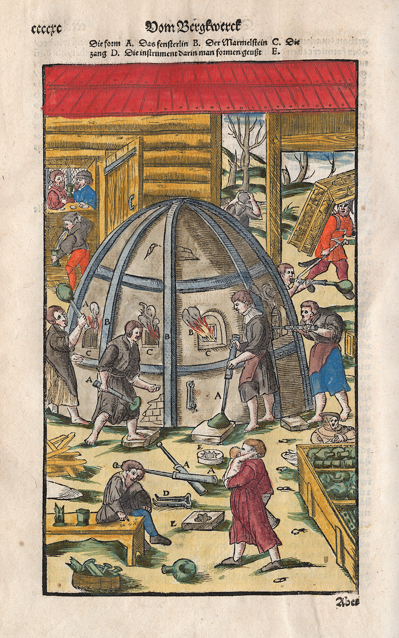 """Georg Agricola, """"Glass furnace with workers,"""" from 'In De re metallica' [Berckwerck Buch, Frankfurt-am-Main, 1580, p. cccxc] (courtesy Rakow Research Library, The Corning Museum of Glass)"""