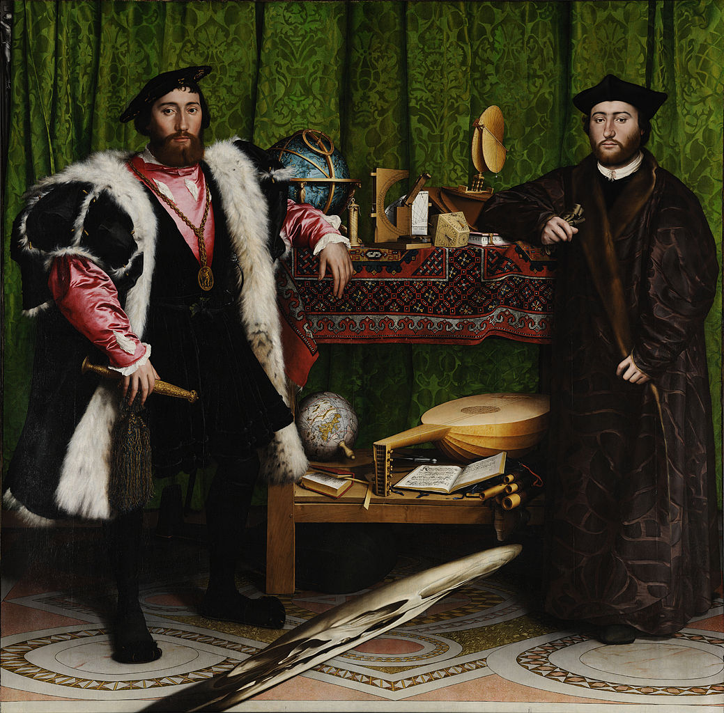 """Hans Holbein the Younger, """"The Ambassadors"""" (1533), oil on oak (via National Gallery/Wikimedia)"""
