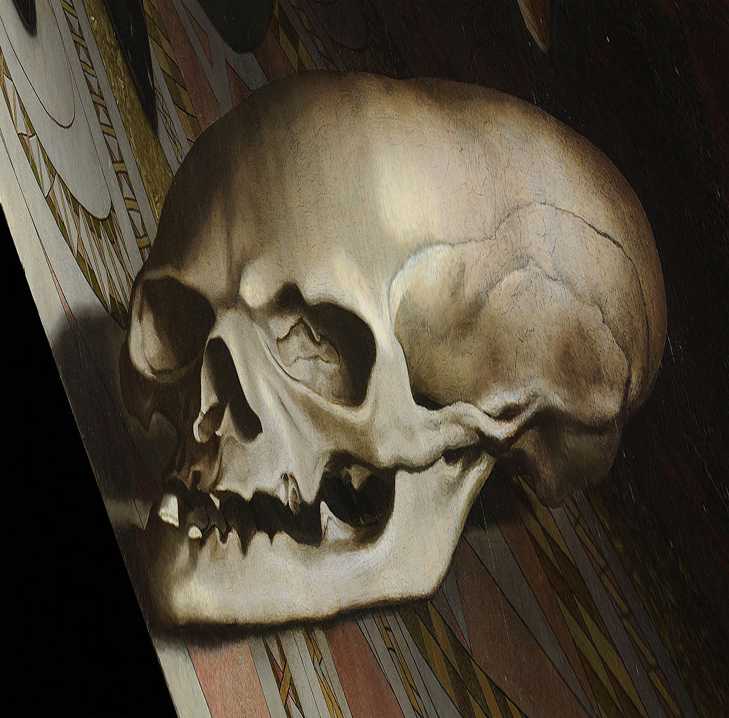 """Detail of the skull when viewed from an angle in """"The Ambassadors"""" (1533) (via Thomas Shahan/Wikimedia)"""