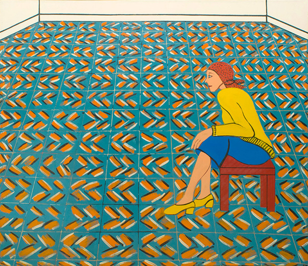 """Joan Brown, """"Woman Waiting in a Theater Lobby"""" (1975) (via cb1gallery.com)"""