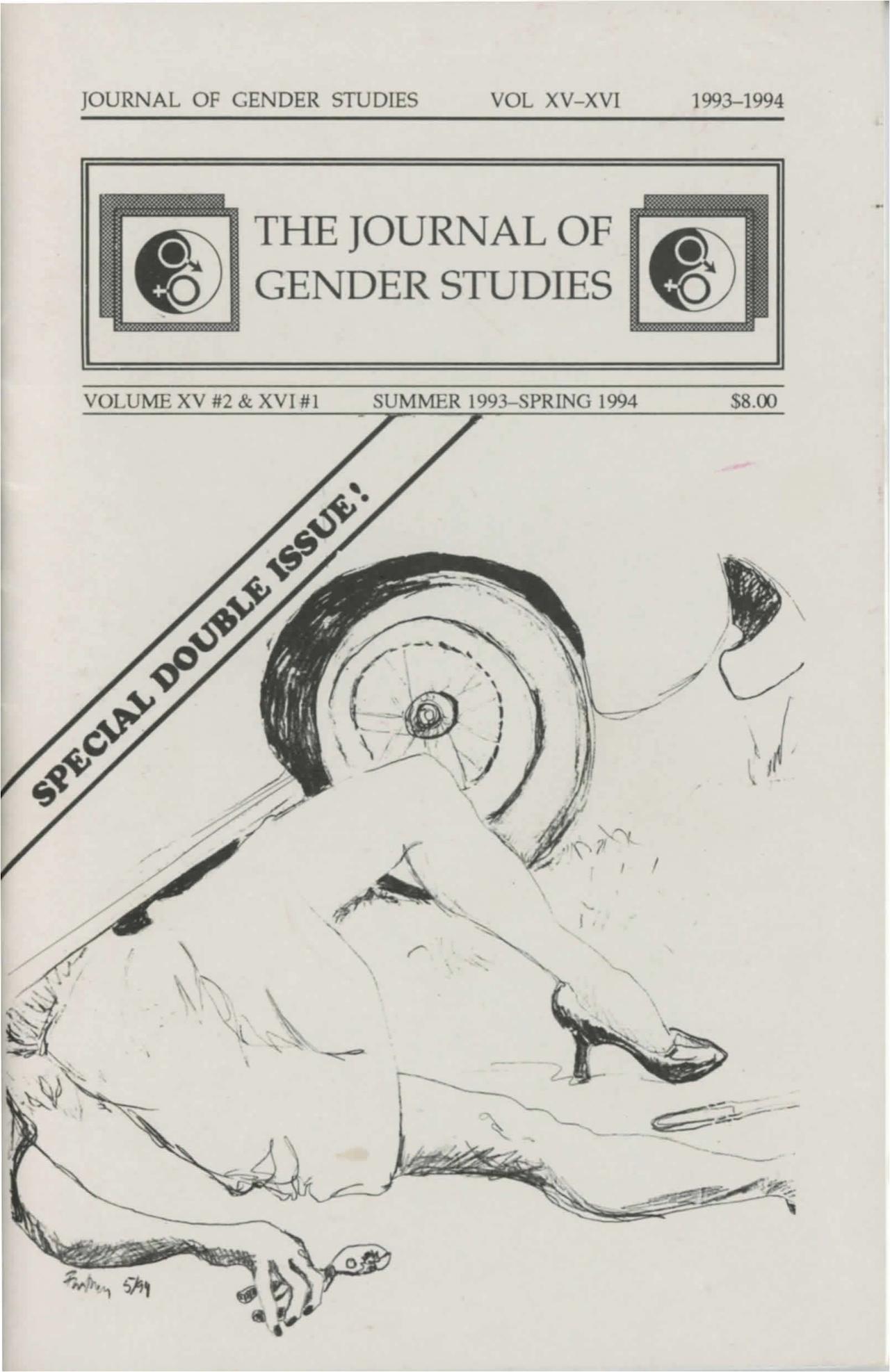 Cover of the Journal of Gender Studies Vol. XV #2 & XVI #1 (Summer 1993 - Spring 1994) (courtesy Digital Transgender Archive)