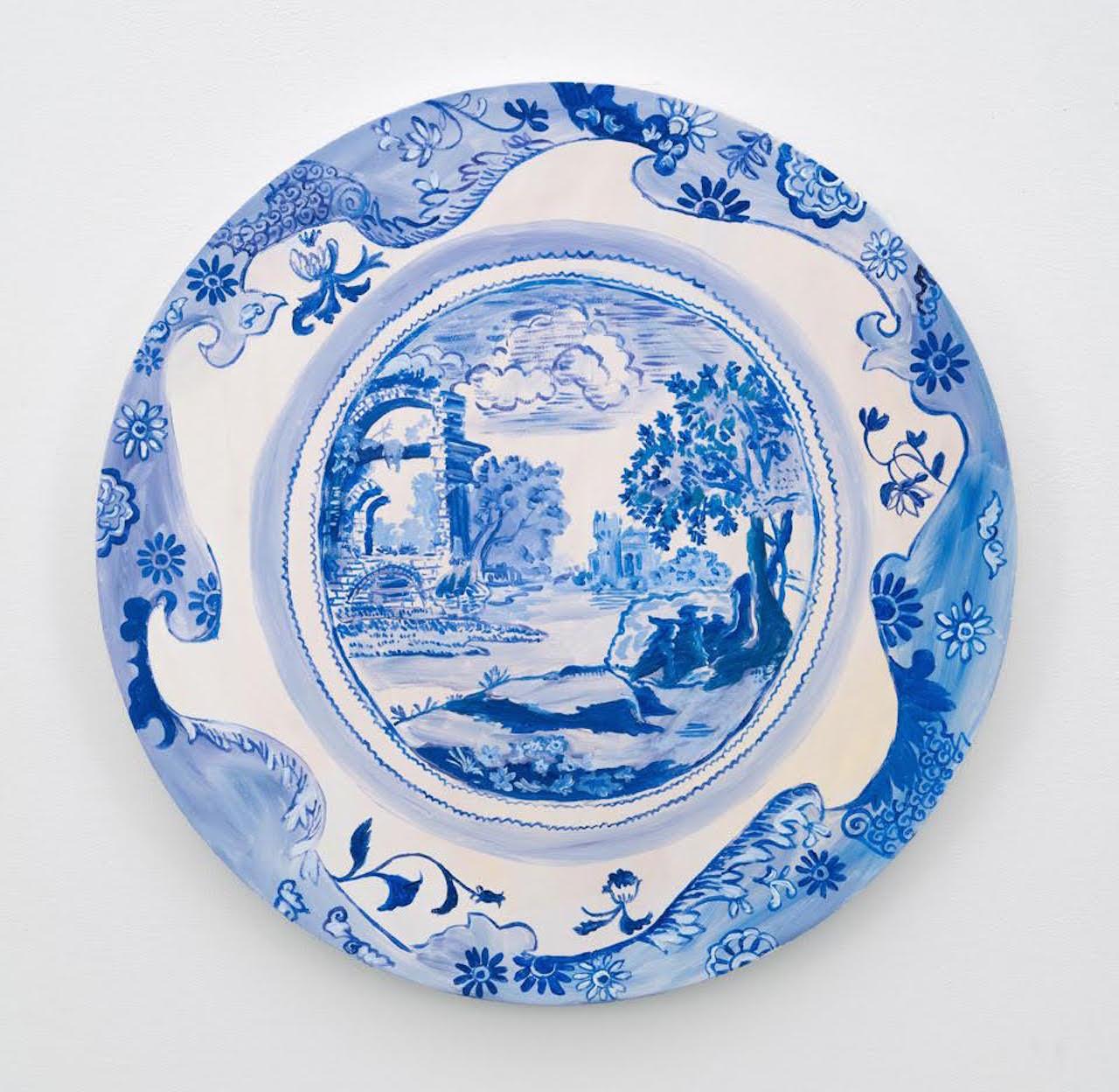 "Karen Kilimnik, ""The Blue and White China Landscape World"" (2015) (image courtesy of the 303 Gallery)"