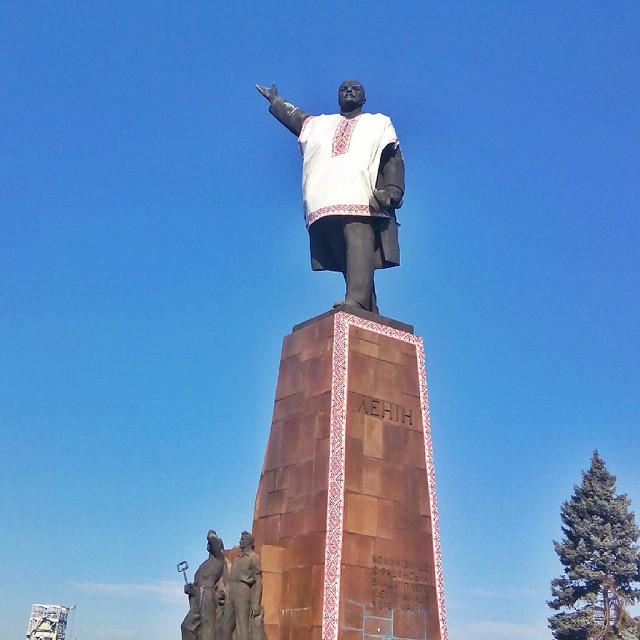 Lenin wearing a traditional Ukranian shirt