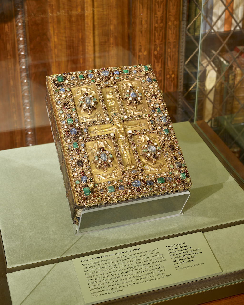Lindau Gospels. Lindau Gospels, (MS M.1) in case in Mr. Morgan's Library, the East Room, Photography by Graham S. Haber, Februray 2016 (courtesy Morgan Library & Museum)