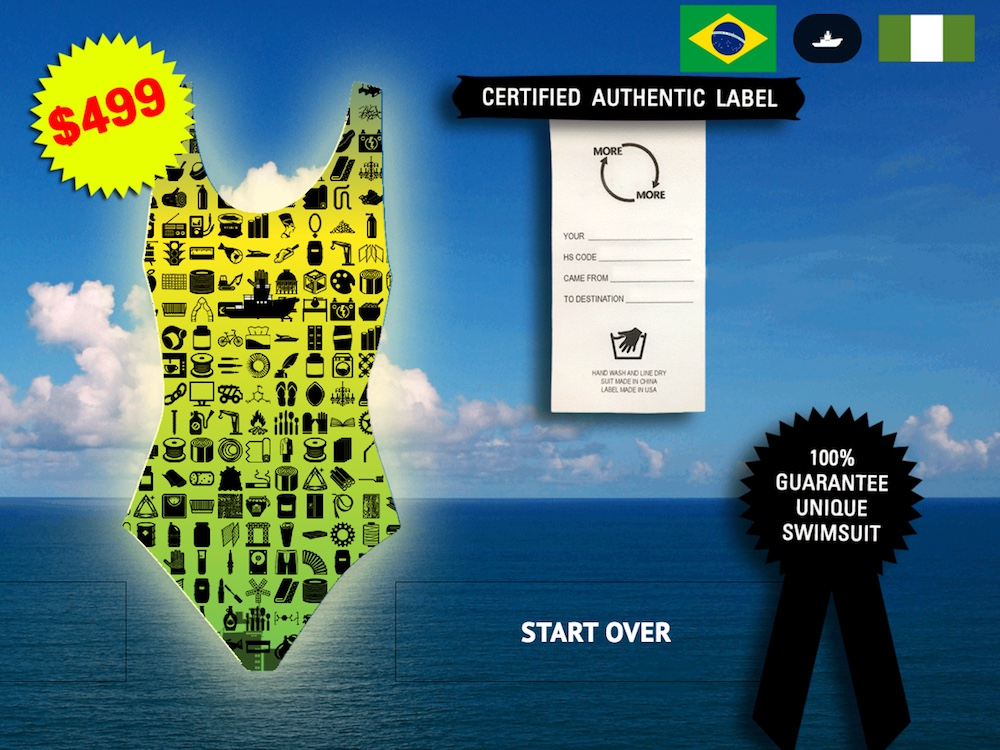 The author's customized swimsuit mockup, representing the shipment of a tugboat from Nigeria to Brazil, on moreandmore.world (screenshot by the author)