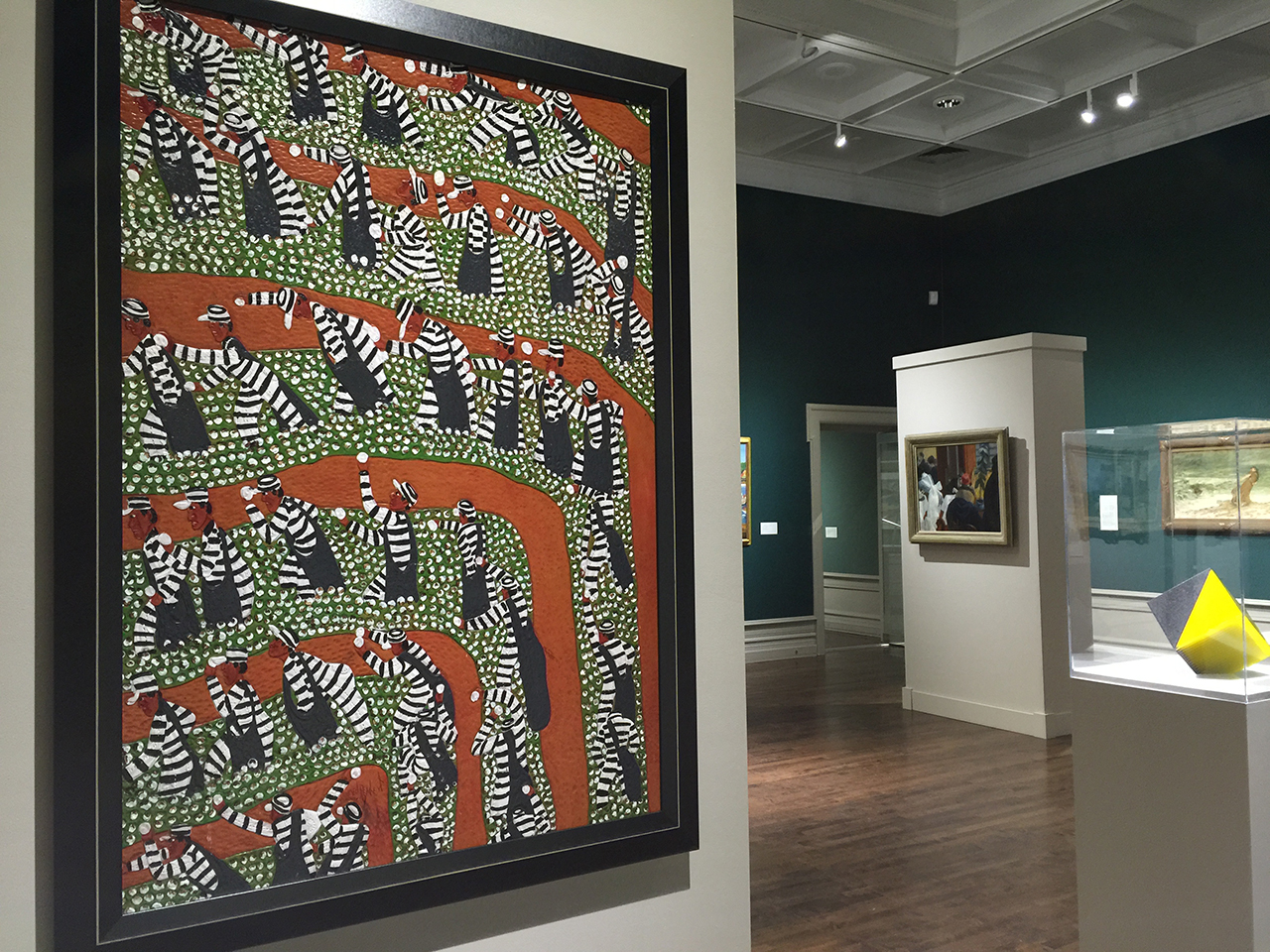 "Winfred Rembert's ""Chain Gang Picking Cotton #2"" on view in the Muskegon Museum of Art's permanent collection galleries (click to enlarge)"