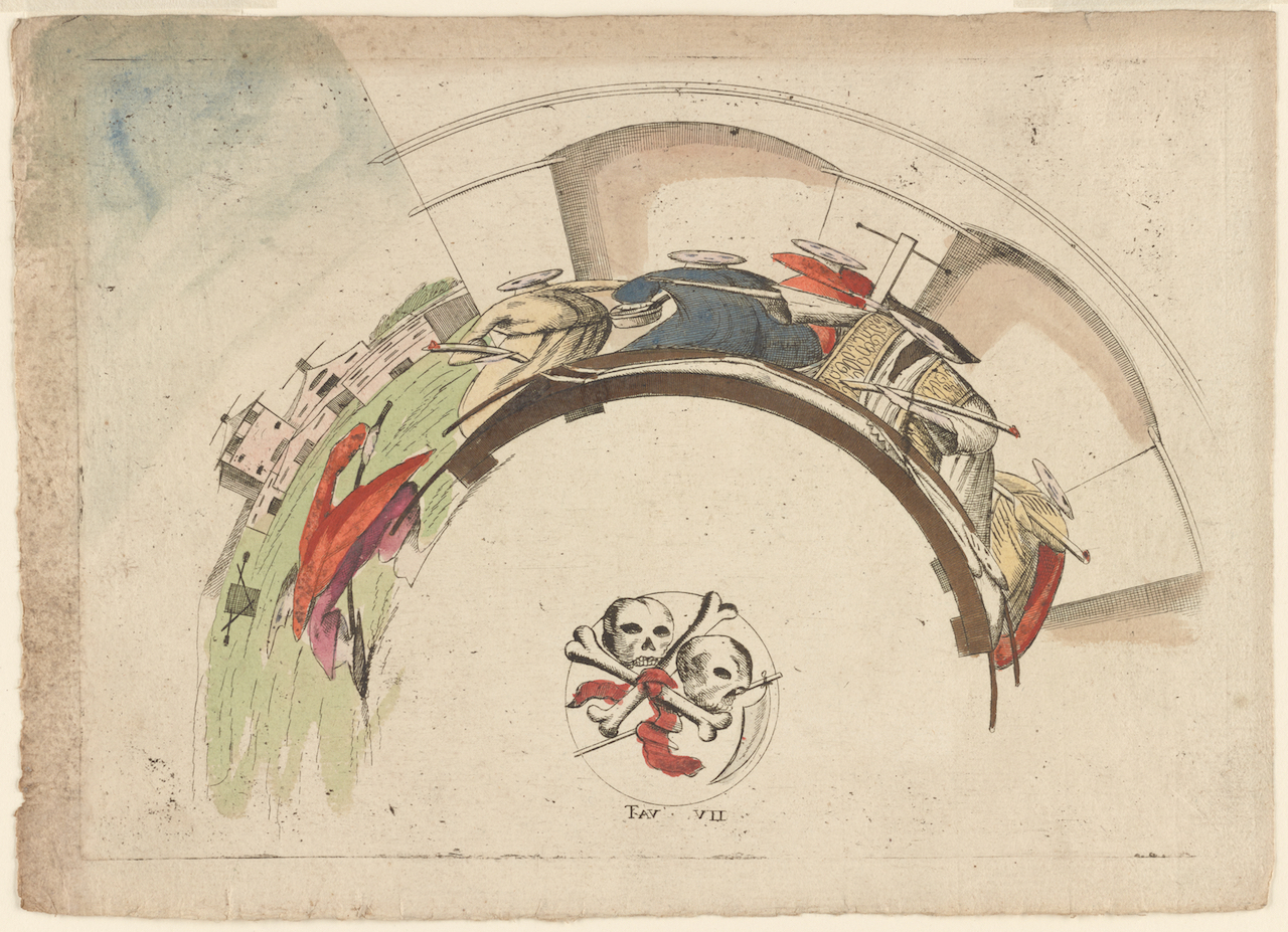 An anamorphic print from Italy (1601-1700) (via New York Public Library)