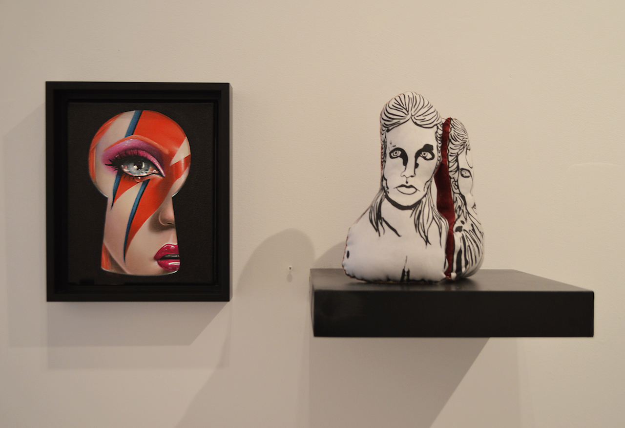 """'Saint Bowie' installation view with Sas Christian """"Tribute"""" (2016, left) and Erin O'Shea """"He Fell On Diamond Days"""" (2016, right)"""
