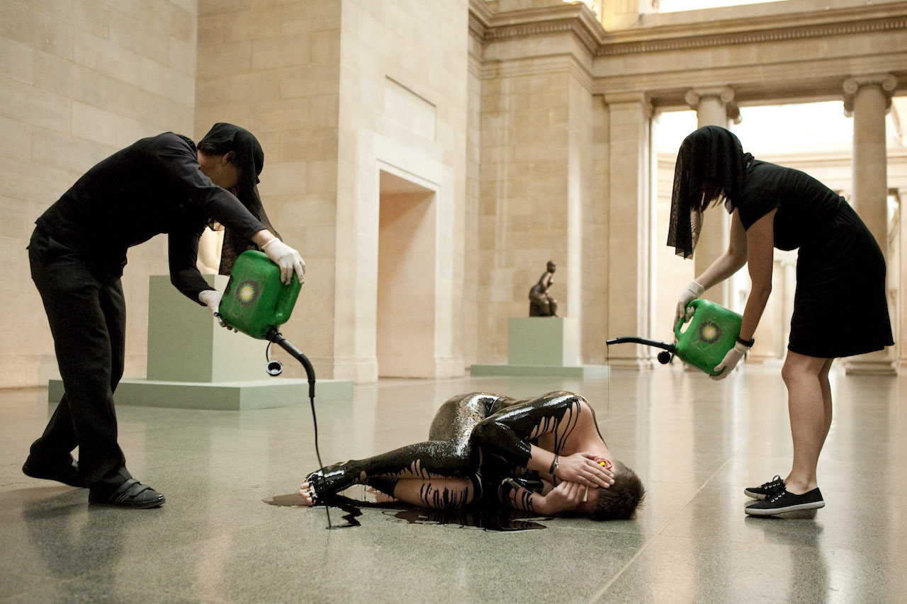"""Liberate Tate's """"Human Cost"""" performance (2011) at Tate Britain (photo by Amy Scaife, courtesy Liberate Tate)"""