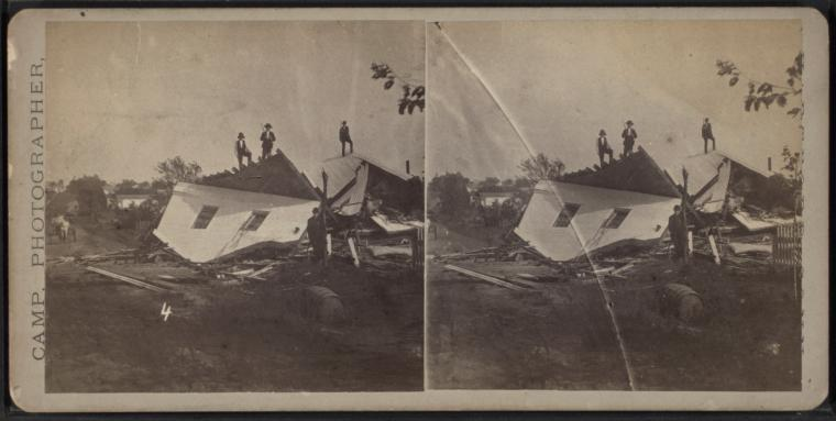 A stereoscopic view by D. S. Camp of the aftermath of a tornado in Wallingford, Connecticut (August 9, 1878) (via New York Public Library)