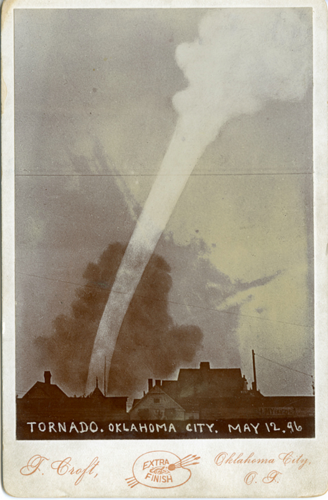 Tornado photographed by Thomas Croft in Oklahoma City (May 12, 1896) (courtesy University of Tulsa Special Collections and University Archives)
