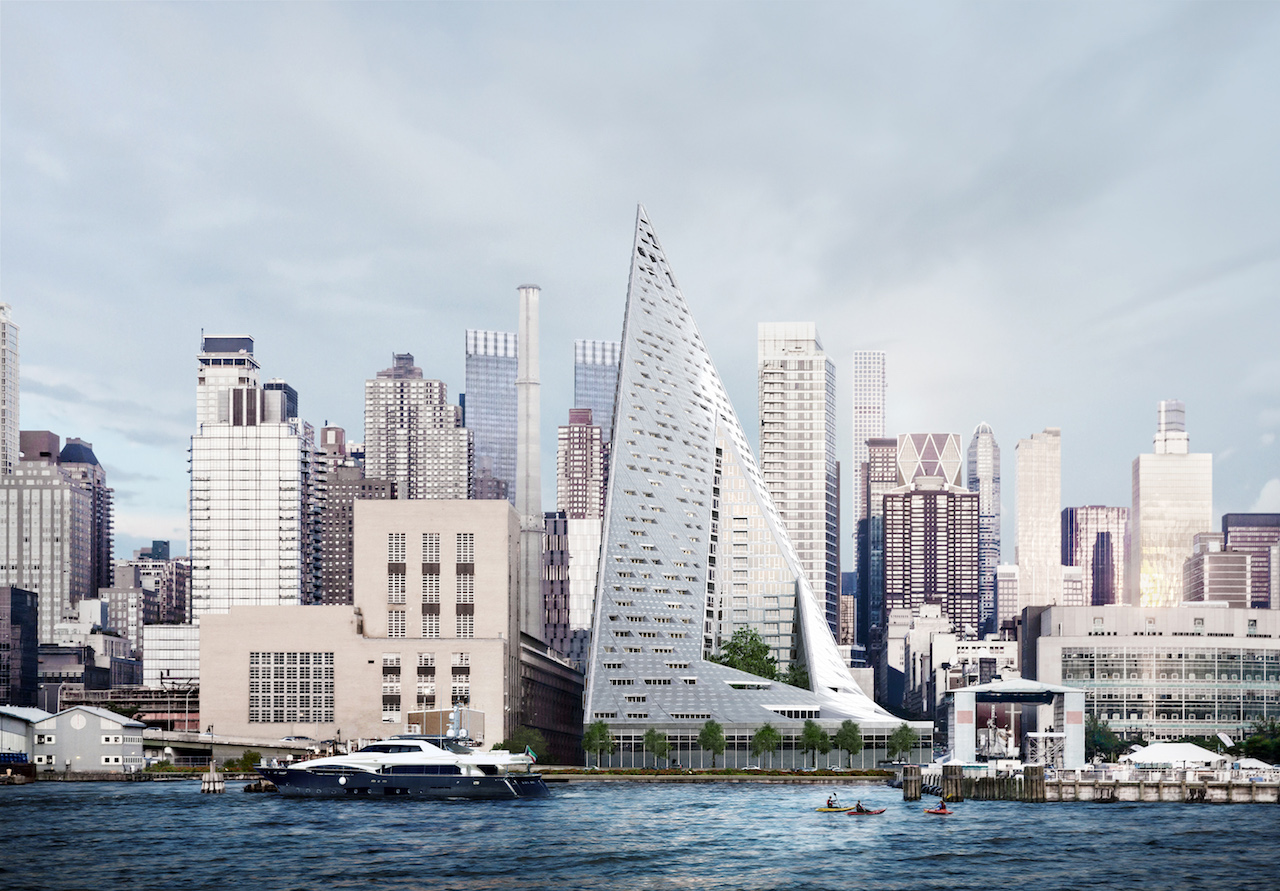 Rendering of Via 57 West as seen from the Hudson River (courtesy Bjarke Ingels Group)