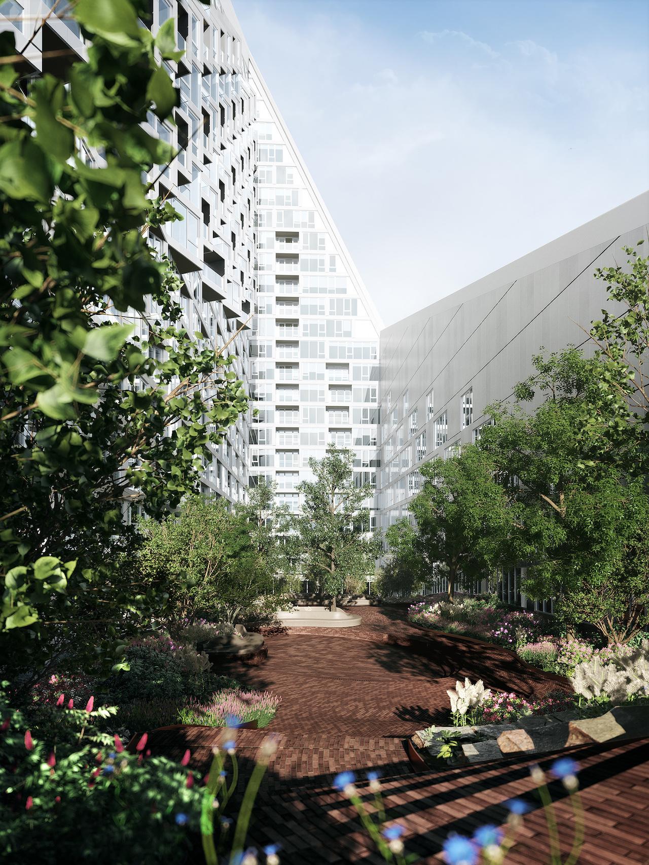 Rendering of Via 57 West's courtyard (courtesy Bjarke Ingels Group)