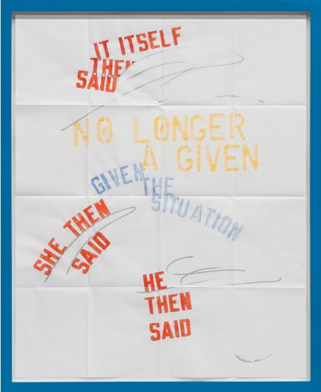 """Lawrence Weiner, """"Situation"""" 2016. Faber-castel pencil, gouache, acrylic, paint pen on folded archival paper, 39.76 x 33.46 inches via http://www.regenprojects.com/exhibitions/lawrence-weiner10"""