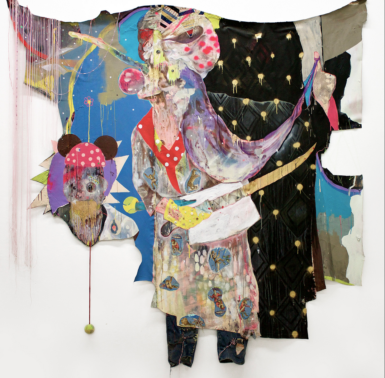 """Lavar Munroe, """"Pinocchio's Half Sister"""" (2014), acrylic, spray paint, latex house paint, fabric paint, tennis ball, rope, buttons, staples, Band-Aids, jeans, thread, and found fabric on cut canvas (image courtesy of the artist and NOMAD Gallery, Brussels, Belgium)"""