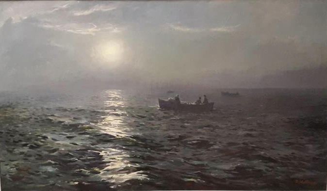"""Richard Uutmaa, """"On a Nocturnal Sea"""" (1956), oil on canvas (photo by the author for Hyperallergic)"""